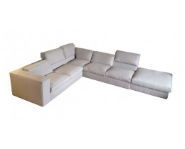 Design Ecksofa mit Hocker Salomon, Stellvariante: Armlehne links