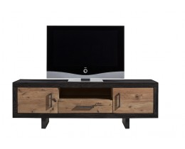 TV-Kommode Alteiche Stahl Bodahl Lucca, Variante 1, Bicolor: Korpus Mocca Black, Front Alteiche Antik Öl Finish